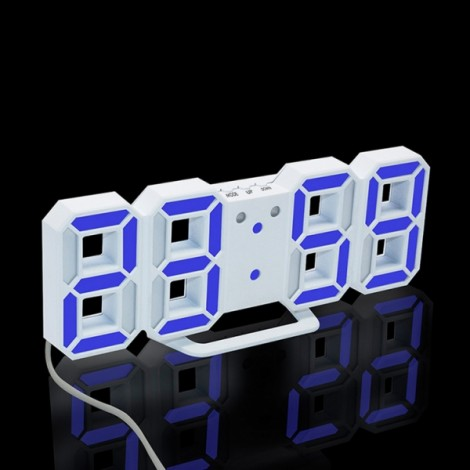 Modern Digital LED Table Desk Clock Watches 24 or 12 Hour Display Alarm Snooze-White Shell& Blue Digital