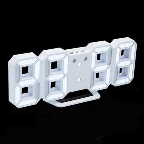 Modern Digital LED Table Desk Clock Watches 24 or 12 Hour Display Alarm Snooze-White Shell& White Digital