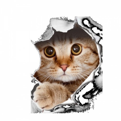 3D Hole View Vivid Cat Dog Waterproof Wall Sticker Bathroom Toilet Refrigerator Animal Decal Decoration - #1