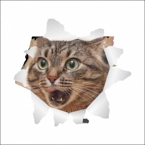 3D Hole View Vivid Cat Dog Waterproof Wall Sticker Bathroom Toilet Refrigerator Animal Decal Decoration - #11