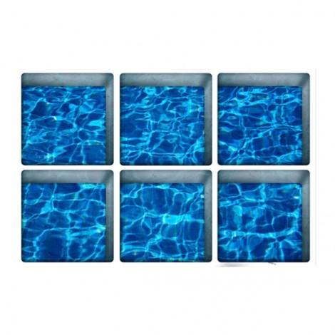 6Pcs 13*13CM DIY 3D Anti Slip Waterproof Bathtub Sticker Removable Pattern Mural Decal Art Home Decor - Blue Water Ripple