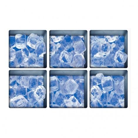 6Pcs 13*13CM DIY 3D Anti Slip Waterproof Bathtu0b Sticker Removable Pattern Mural Decal Art Home Decor - Ice