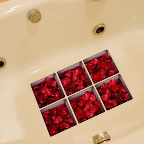 6Pcs 13*13CM DIY 3D Anti Slip Waterproof Bathtub Sticker Removable Pattern Mural Decal Art Home Decor - Rose Petals