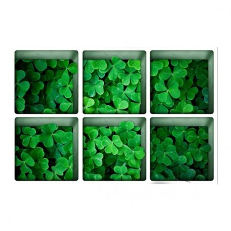 6Pcs 13*13CM DIY 3D Anti Slip Waterproof Bathtub Sticker Removable Pattern Mural Decal Art Home Decor - Four-leaf Clover
