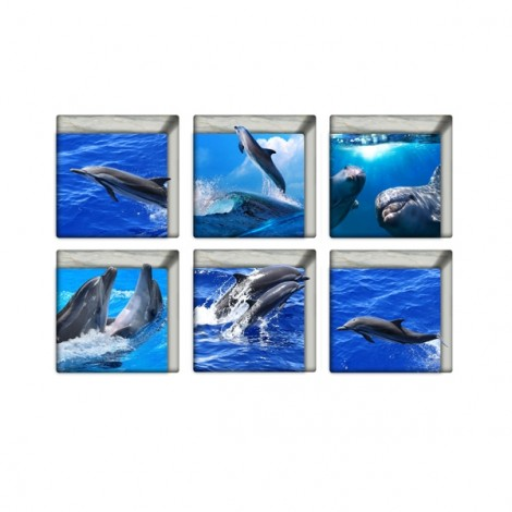 6Pcs 13*13CM DIY 3D Anti Slip Waterproof Bathtub Sticker Removable Pattern Mural Decal Art Home Decor - Dolphin