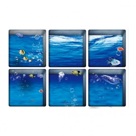 6Pcs 13*13CM DIY 3D Anti Slip Waterproof Bathtub Sticker Removable Pattern Mural Decal Art Home Decor - Sea World