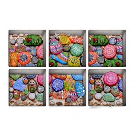 6Pcs 13*13CM DIY 3D Anti Slip Waterproof Bathtub Sticker Removable Pattern Mural Decal Art Home Decor - Colour Stone