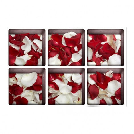 6Pcs 13*13CM DIY 3D Anti Slip Waterproof Bathtub Sticker Removable Pattern Mural Decal Art Home Decor - Red and White Rose Petals
