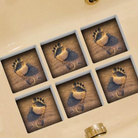 6Pcs 13*13CM DIY 3D Anti Slip Waterproof Bathtub Sticker Removable Pattern Mural Decal Art Home Decor - Luminous Footprints