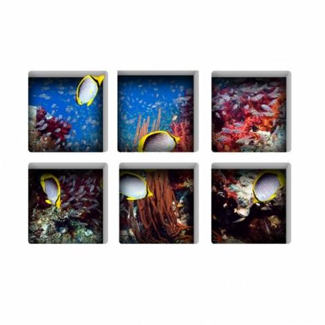 6Pcs 13*13CM DIY 3D Anti Slip Waterproof Bathtub Sticker Removable Pattern Mural Decal Art Home Decor - Luminous Sea World