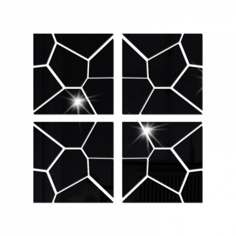 4Pcs 40*40CM DIY 3D Geometry Acrylic Mirror Wall Sticker Removable Pattern Mural Decal Art Home Decor - Black