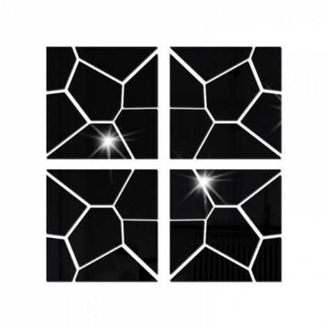 4Pcs 30*30CM DIY 3D Geometry Acrylic Mirror Wall Sticker Removable Pattern Mural Decal Art Home Decor - Black