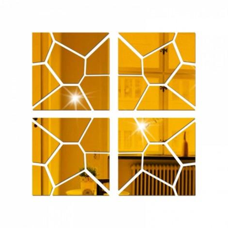 4Pcs 30*30CM DIY 3D Geometry Acrylic Mirror Wall Sticker Removable Pattern Mural Decal Art Home Decor - Golden