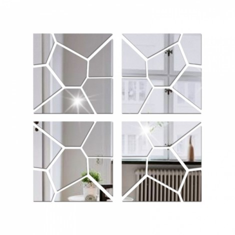 4Pcs 40*40CM DIY 3D Geometry Acrylic Mirror Wall Sticker Removable Pattern Mural Decal Art Home Decor - Silver