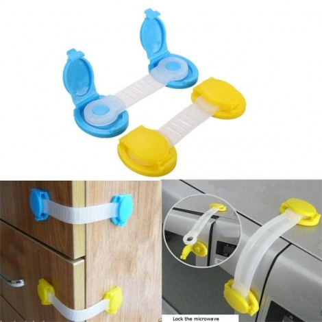 Child Proof Safety Cabinet Door Cupboard Fridge Drawer Wardrobe Lock Short Type Yellow