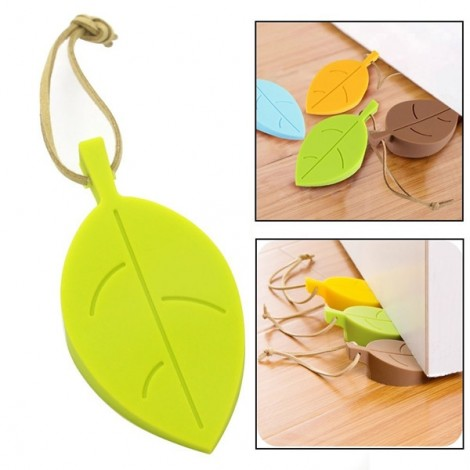 4pcs Cute Colorful Leaf Style Flexible Silicone Door Window Stoppers with Lanyard for Home Garden Random Color