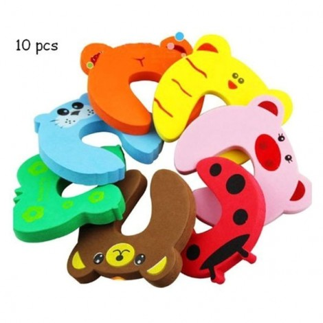 10pcs Cute Cartoon Style Door Stoppers Baby Safety Finger Pinch Guards Random Color