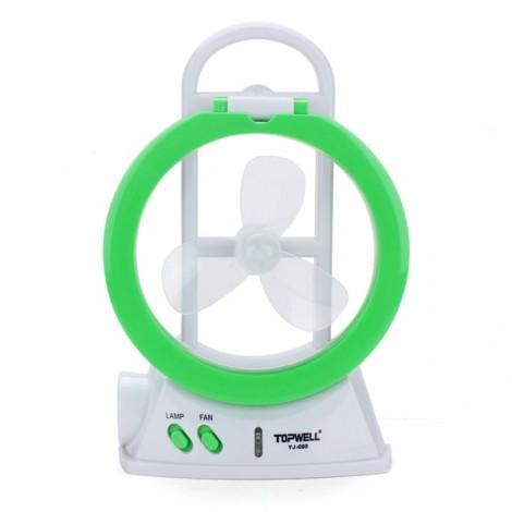 Multifunctional LED Electric Fan Lamp Fan Light Mini Desk Fan Flashlight Green