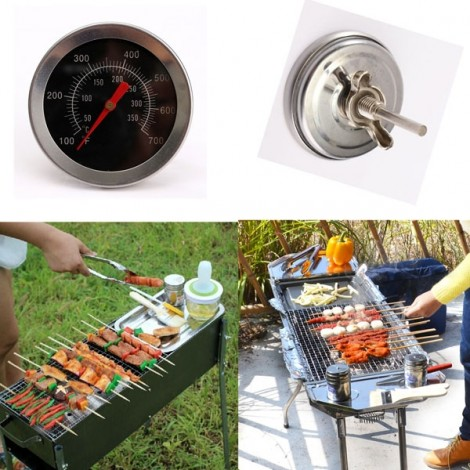 Stainless Steel Camping BBQ Grill Barbecue Camp Smoker Pit Cooking Thermometer Silver