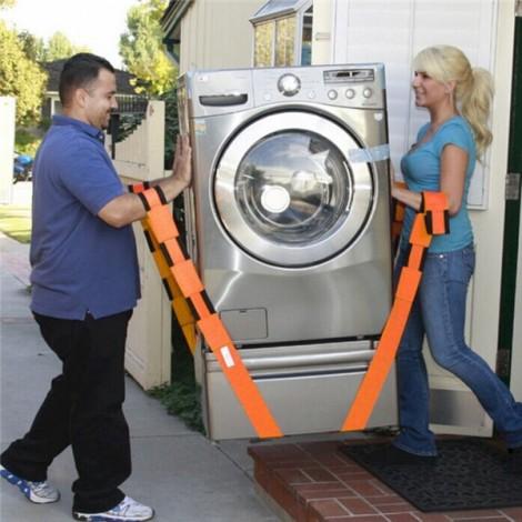 2pcs Furniture Moving Belt Team Straps Adjustable Mover Easier Lifting Conveying Belt Orange & Black