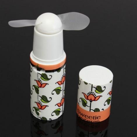 Mini Portable Lipstick Shape Battery Power Cooling Fan Random Color