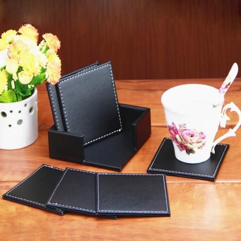 6pcs Double Deck PU Leather Square Coaster Cup Mat Placemat Black