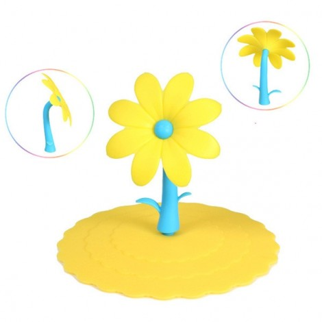 Flower Design Grip Round Anti-dust Leakproof Silicone Cup Mug Cover Lid Random Delivery