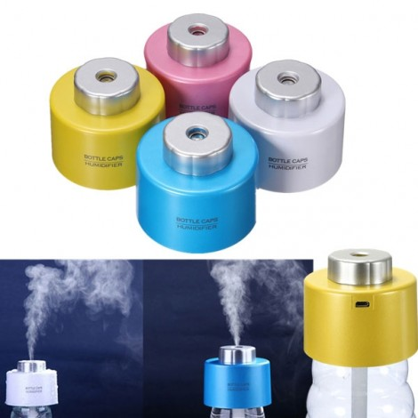 Mini Portable Bottle Cap Air Humidifier with USB Cable for Office Home Blue