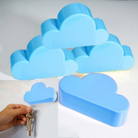 Creative Cloud-shaped Magnetic Key Holder Blue