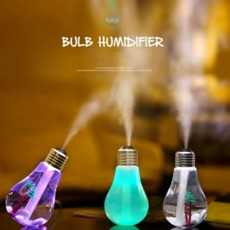 USB Colorful Matt Surface Bulb Shape Air Humidifier Diffuser Stone Decoration Beautiful Landscape Golden