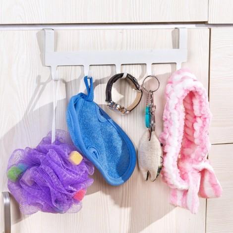 5 Hooks Door Cabinet Clothes Robe Hook Metal Rack Hanger Sundries Holder White