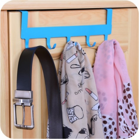 5 Hooks Door Cabinet Clothes Robe Hook Metal Rack Hanger Sundries Holder Blue
