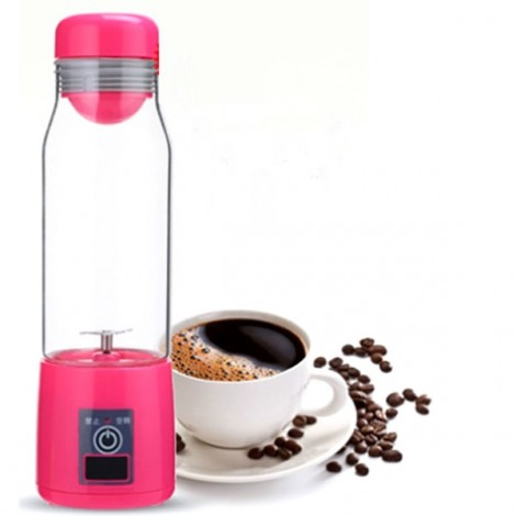 3-in-1 Mini Rechargeable Electric Juicer Cup with LED Lamp Power Bank Red