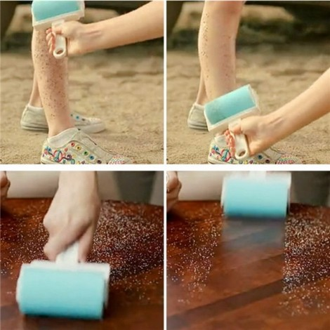 Super Sticky Washable Dust Lint Roller Dust Remover with Cover for Fluff Pet Hair Random Color