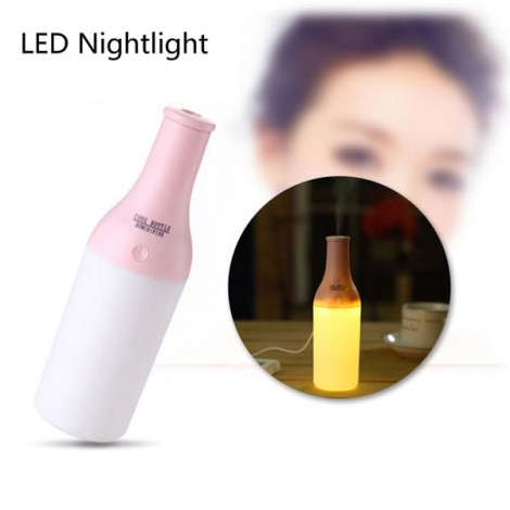 Mini Bottle Delicate Ultrasonic Home Office Aromatherapy USB Lamp LED Humidifier Mist Air Diffuser Purifier Pink