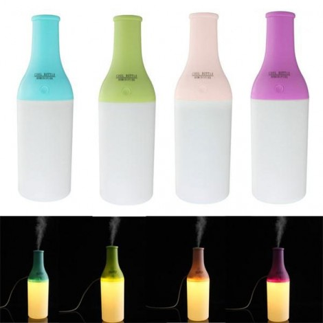 Mini Bottle Delicate Ultrasonic Home Office Aromatherapy USB Lamp LED Humidifier Mist Air Diffuser Purifier Green