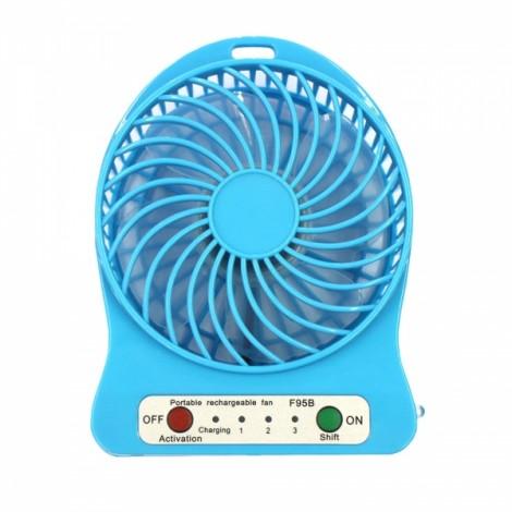 Portable Rechargeable 4 Modes USB Mini Fan Blue