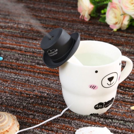 Portable Mini USB Humidifier Water Cowboy Cap Air Diffuser Fresher Mist Maker for Office Home Black