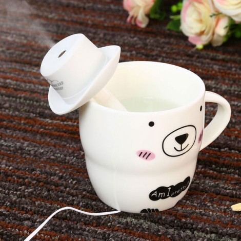 Portable Mini USB Humidifier Water Cowboy Cap Air Diffuser Fresher Mist Maker for Office Home White
