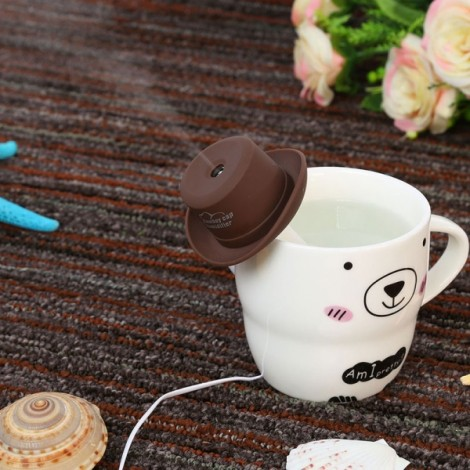 Portable Mini USB Humidifier Water Cowboy Cap Air Diffuser Fresher Mist Maker for Office Home Coffee