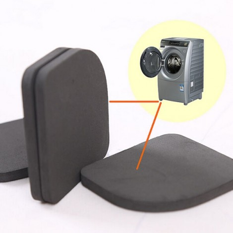 4pcs Washing Machine Anti-shock Pads Silence Cotton Non-slip Mats Kit Black