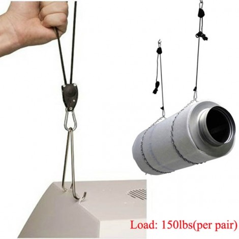 2pcs Adjustable Plant Grow Light Hook Rope Ratchet Hanger Gardening Tool Black & Silver