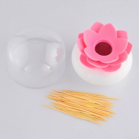 Unique Lotus Shaped Cotton Swab Holder Toothpick Storage Box Household Organizer Home Decorate Pink