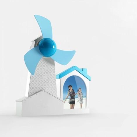 3-in-1 Multifunction Windmills Mini USB Fan With Photo Frame Pen Holder Blue