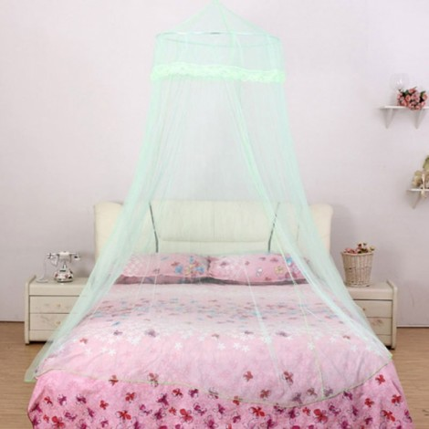 Elegant Classical Romantic Sweet Princess Students Outdoor Hang Dome Mosquito Net Round Lace Anti-insert Curtain Green