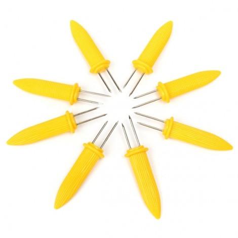 8pcs Corn Picks Set Corncob Holders Corn Pin Corn Fork BBQ Tools Grilling Accessories Yellow