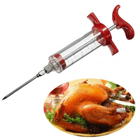 BBQ Barbecue Marinade Sauce Injector Turkey Needle Seasoning Syringe Red