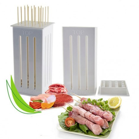 16 Holes DIY BBQ Slicer Box Food Meat Vegetable Slicer Box Portable Barbecue Grill Kebab Tool White