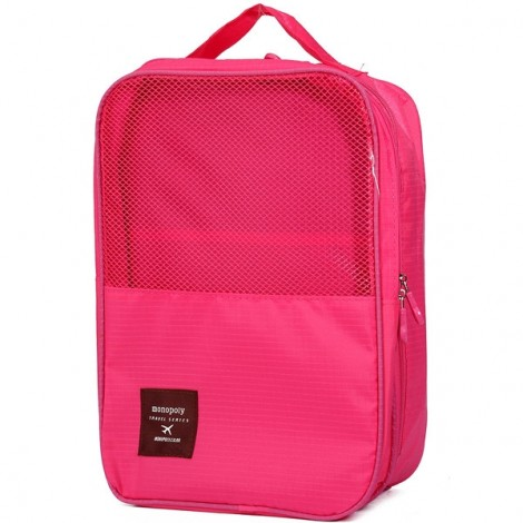 Creative 3-Layer Travel Storage Bag Waterproof Portable Shoes Box Pouch Rose Red