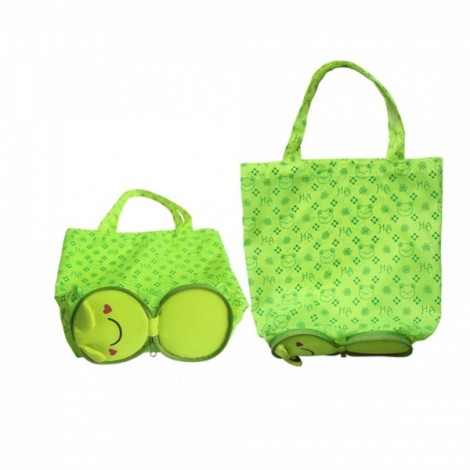 Cute Cartoon Frog Pattern Foldable Reusable Shopping Travel Bag Pouch Tote Handbag Green
